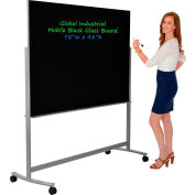 "Global Industrial™ Mobile Glass Board - 72""W x 48""H-Black"