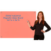 Global Industrial™ Magnetic Glass Dry Erase Board - 48 x 36 - Coral