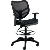 Interion® All Mesh Stool with Arms - Black
