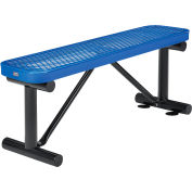 Global Industrial™ 4 ft. Outdoor Steel Flat Bench - Expanded Metal - Blue