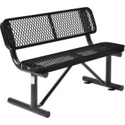 Global Industrial™ 4 ft. Outdoor Steel Bench with Backrest - Expanded Metal - Black