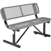 Global Industrial™ 4 ft. Outdoor Steel Bench with Backrest - Expanded Metal - Gray