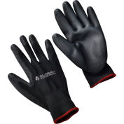 Global Industrial™ Flat Polyurethane Coated Gloves, Black/Black, Small, 1-Pair - Pkg Qty 12