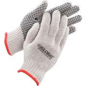 Global Industrial™ PVC Dot Knit Gloves, Single-Sided, Black, Small, 1-Dozen