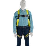 Miller® H13110022 Full Body Harness, Back D Ring, Tongue Leg Strap, Black/Yellow