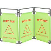 """Global Industrial™ """"Safety First"""" Folding Fabric Barrier, Lime Green, English/French"""