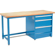 Global Industrial™ 72Wx30D Modular Workbench, 3 Drawers, Maple Butcher Block Safety Edge, Blue