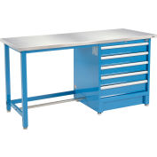 """Global Industrial™ 72""""Wx30""""D Modular Workbench with 5 Drawers, Stainless Steel Square Edge, BL"""
