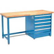 Global Industrial™ 72Wx30D Modular Workbench, 5 Drawers, Birch Butcher Block Square Edge, Blue