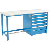 """Global Industrial™ 72""""Wx30""""D Modular Workbench W/ 5 Drawers, Plastic Laminate Safety Edge, Blue"""