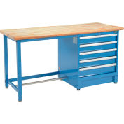 Global Industrial™ 72Wx30D Modular Workbench, 5 Drawers, Maple Butcher Block Safety Edge, Blue
