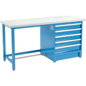 """Global Industrial™ 72""""Wx30""""D Modular Workbench W/ 5 Drawers, Plastic Laminate Square Edge, Blue"""