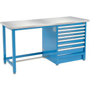 """Global Industrial™ 72""""Wx30""""D Modular Workbench with 7 Drawers, Stainless Steel Square Edge, BL"""