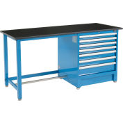"""Global Industrial™ 72""""Wx30""""D Modular Workbench with 7 Drawers, Phenolic Resin Safety Edge, Blue"""