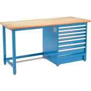 Global Industrial™ 72Wx30D Modular Workbench, 7 Drawers, Maple Butcher Block Safety Edge, Blue