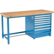 """Global Industrial™ 72""""W x 30""""D Modular Workbench with 7 Drawers - Shop Top Safety Edge - Blue"""