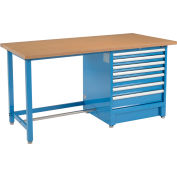 """Global Industrial™ 72""""W x 30""""D Modular Workbench with 7 Drawers - Shop Top Square Edge - Blue"""