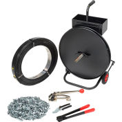 """Global Industrial™ Strapping Kit w/ Tensioner/Sealer/Seals & Cart, 2940'L x 1/2"""" Strap Width"""