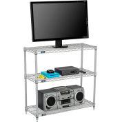 """Nexelate® Silver Epoxy (3) Shelf Media Stand, 24""""W x 14""""D x 34""""H"""