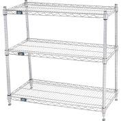 """Nexel® 36""""W x 14""""D x 34""""H (3) Stand de médias de plateau - Chrome"""