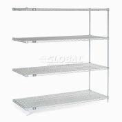 "Nexelate® Silver Epoxy Wire Shelving Add-On 60""W x 30""D x 63""H"