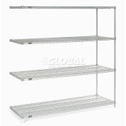 "Nexelate® Silver Epoxy Wire Shelving Add-On 72""W x 30""D x 74""H"