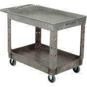 """Global Industrial™ Extra-Strength Plastic 2-Tray Service Cart W/ 5"""" Casters, 44""""L x 25-1/2""""W"""