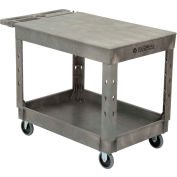 "Industrial Strength Plastic 2 Flat Shelf Service & Utility Cart, 44"" x 25-1/2"", 5"" Rubber Caster"