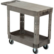 "Global Industrial™ Extra Strength Plastic 2 Flat Shelf Service Cart 38x17-1/2 5"" Casters"