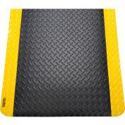 "Global Industrial™ Diamond Plate Ergonomic Mat 15/16"" Thick 24""x36"" Black/Yellow Border"