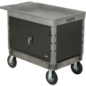 "Industrial Strength Plastic Mobile Work Center with Tray Top 44"" x 25-1/2"" Gray 8"" Pneumatic Casters"
