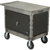 "Industrial Strength Plastic Mobile Work Center with Flat Top 44"" x 25-1/2"", 8"" Pneumatic Casters"