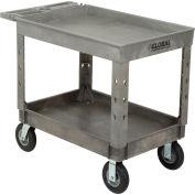 "Global Industrial™ Extra Strength Plastic 2 Tray Shelf Service Cart 44x25-1/2 8"" wheels"