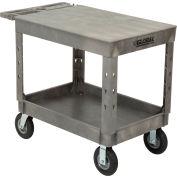 "Global Industrial™ Extra Strength Plastic 2 Flat Shelf Service Cart 44x25-1/2 8"" Wheels"