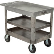 "Global Industrial™ Extra Strength Plastic 3 Tray Shelf Service Cart 44x25-1/2 8"" wheels"