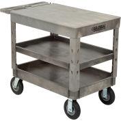 "Global Industrial™ Extra Strength Plastic 3 Flat Shelf Service Cart 44x25-1/2 8"" wheels"