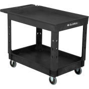 """Global Industrial™ Plastic 2 Tray Black Shelf Service Utility Cart 44x25-1/2 5"""" Rubber Casters"""
