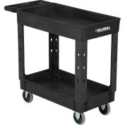 """Global Industrial™ Plastic 2 Shelf Tray Black Service Utility Cart 38x17-1/2 5"""" Rubber Casters"""