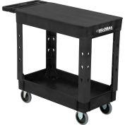 "Global Industrial™ Plastic 2 Shelf Flat Black Service Utility Cart 38x17-1/2 5"" Rubber Casters"