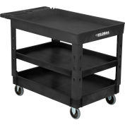 """Global Industrial™ Plastic 3 Tray Black Shelf Service Utility Cart 44x25-1/2 5"""" Rubber Casters"""