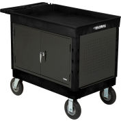 "Industrial Strength Plastic Mobile Work Center with Tray Top 44"" x 25-1/2"" Black 8"" Pneumatic Caster"