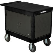 "Industrial Strength Plastic Mobile Work Center with Flat Top 44"" x 25-1/2"" Black 8"" Pneumatic Caster"