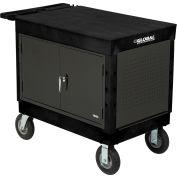 Global Industrial™ Centre de travail mobile extra-fort avec plateau plat &8 «Roulettes, noir