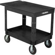 "Global Industrial™ Plastic 2 Tray Black Shelf Service & Utility Cart, 44""x25-1/2"", 8"" Wheels"
