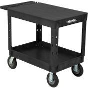"Global Industrial™ Plastic 2 Flat Black Shelf Service & Utility Cart, 44""x25-1/2"", 8"" Wheels"