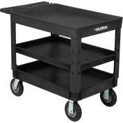 "Global Industrial™ Plastic 3 Tray Black Shelf Service & Utility Cart, 44""x25-1/2"", 8"" Pneumatic"