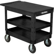 "Global Industrial™ Plastic 3 Flat Black Shelf Service & Utility Cart, 44""x25-1/2"", 8"" pneumatic"