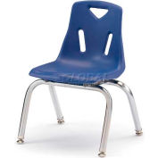 """Jonti-Craft® Berries® Plastic Chair with Chrome-Plated Legs - 18"""" Ht - Blue"""