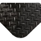 """Wearwell® Diamond-Plate SpongeCote Mat WOW Finish 15/16"""" Thick 3' x 5' Black"""