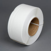 """Global Industrial™ 8"""" x 8"""" Core Machine Grade Strapping, 9000'L x 1/2""""W x 0.022"""" Thick, White"""